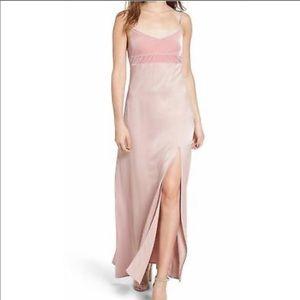 Leith Velvet Dull Satin Slip Maxi Dress Small